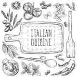 Reeks met hand getrokken illustraties van voedsel Italiaanse keuken Perfectioneer voor menu, kaarten, bloggen, banners vectorillu royalty-vrije illustratie