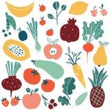 Reeks met hand getrokken krabbelvruchten en groenten vector illustratie