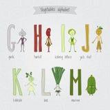 Reeks met het leuke alfabet van beeldverhaal grappige groenten Stock Afbeelding