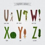 Reeks met het leuke alfabet van beeldverhaal grappige groenten Stock Fotografie