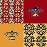 Reeks met Indische patronen en achtergronden met adelaars stock illustratie
