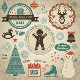 Reeks met Kerstmisemblemen Stock Afbeelding