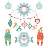 Reeks met Kerstmisemblemen Stock Foto