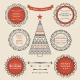 Reeks met Kerstmisemblemen Royalty-vrije Stock Foto