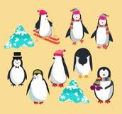 Reeks met leuk pinguïnenkarakter royalty-vrije illustratie