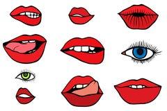 Reeks met lippen en ogen Stock Afbeelding