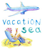 Reeks met meisje en vliegtuig vector illustratie