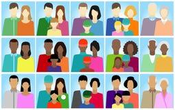 Reeks met mensen, familie, electoraat enz. Royalty-vrije Stock Afbeelding