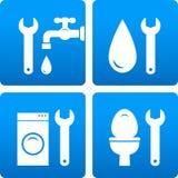 Reeks met moersleutel, waterdaling, wasmachine Royalty-vrije Stock Foto