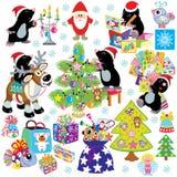 Reeks met mol die voor Kerstmis voorbereidingen treffen Royalty-vrije Stock Foto's