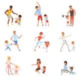 Reeks met ouders en hun kinderen die verschillende sportoefeningen doen Familietijd Fysische activiteit en gezond royalty-vrije illustratie
