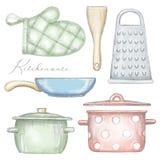 Reeks met potten, pan, ovenwant, spatel en rasp vector illustratie