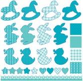 Reeks met speelgoed - paarden, konijnen, harten en sterren, die op w worden geïsoleerd Stock Foto