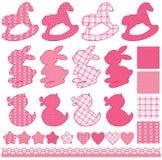 Reeks met speelgoed - paarden, konijnen, harten en sterren, die op w worden geïsoleerd Stock Foto's