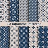Reeks met tien naadloze vector Japanse bloemen geometrische paterns ontwerp voor textiel, verpakking, dekking stock illustratie