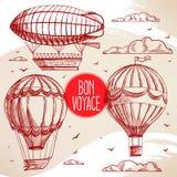 Reeks met uitstekende ballons Stock Foto