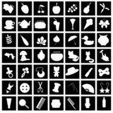 Reeks met vele verschillende pictogrammen Royalty-vrije Stock Foto's
