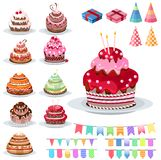 Reeks met verschillende cakes Royalty-vrije Stock Afbeelding