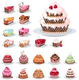 Reeks met verschillende cakes Stock Fotografie
