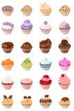 Reeks met verschillende cakes Stock Afbeelding