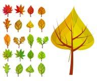 Reeks met verschillende gestileerde bomen Stock Foto