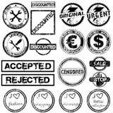 Reeks met verschillende grungezegels royalty-vrije illustratie