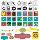Reeks met verschillende pictogrammen Royalty-vrije Stock Foto's