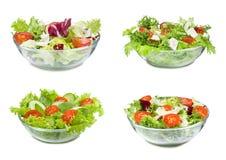 Reeks met verschillende salades Stock Foto