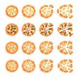 Reeks met verschillende verscheidenheden van pizza Besnoeiingsplakken Margherita, bacon, ui, tomaten Hoogste mening Vector illust Stock Afbeeldingen
