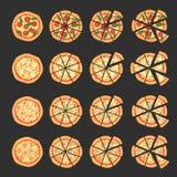 Reeks met verschillende verscheidenheden van pizza Besnoeiingsplakken Margherita, bacon, ui, tomaten Hoogste mening Vector illust Royalty-vrije Stock Fotografie