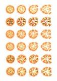 Reeks met verschillende verscheidenheden van pizza Besnoeiingsplakken Margherita, garnalen, bacon, ui, tomaten Hoogste mening Vec Royalty-vrije Stock Afbeelding