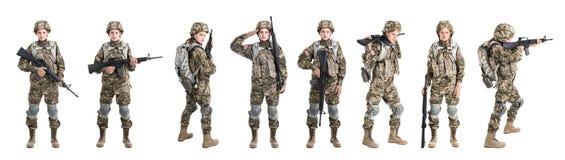 Reeks met vrouwelijke militair op witte achtergrond stock afbeeldingen
