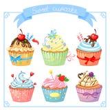 Reeks met zoete cupcake Stock Fotografie