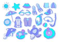 Reeks met zwemmende goederen voor jonge geitjes Vector kleurenillustratie vector illustratie