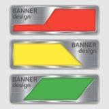 Reeks metaal geweven banners Webbanners met realistische staaltextuur in abstracte vormen Stock Foto