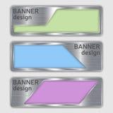 Reeks metaal geweven banners Webbanners met realistische staaltextuur in abstracte vormen Royalty-vrije Stock Foto