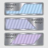 Reeks metaal geweven banners Webbanners met realistische staaltextuur in abstracte vormen Royalty-vrije Stock Afbeelding