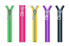 Reeks metaalritssluitingen voor kleding in verschillende kleuren Open en vector illustratie