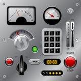 Reeks meters, knopen en andere machinesdelen op metaaldas stock illustratie