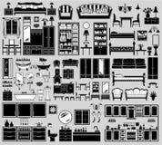 Reeks meubilairpictogrammen Stock Afbeelding