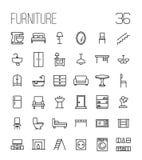 Reeks meubilairpictogrammen in moderne dunne lijnstijl Stock Afbeeldingen