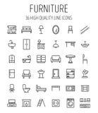 Reeks meubilairpictogrammen in moderne dunne lijnstijl Stock Foto's