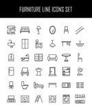 Reeks meubilairpictogrammen in moderne dunne lijnstijl Stock Foto