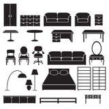 Reeks meubilairpictogrammen Zwarte silhouetten Royalty-vrije Stock Afbeeldingen