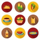 Reeks Mexicaanse voedselpictogrammen Stock Afbeelding