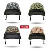 Reeks Militaire camouflagehelmen Vector Royalty-vrije Stock Fotografie