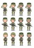 Reeks militairen Mannen en vrouwen het vlakke ontwerp van het beeldverhaalkarakter op witte achtergrond Vector Illustratie