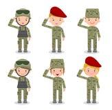 Reeks militairen Mannen en vrouwen het vlakke ontwerp van het beeldverhaalkarakter op witte achtergrond Royalty-vrije Illustratie