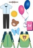 Reeks miniatuurbeelden op schoolthema Vector Royalty-vrije Stock Foto's