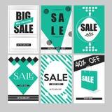Reeks mobiele banners voor online het winkelen Vectorillustratieswebsite en sociale media, affiches, e-mailbulletinontwerpen, Stock Afbeeldingen